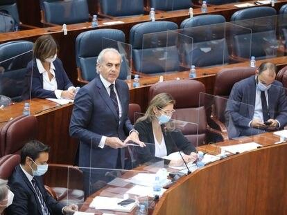 El consejero de Sandidad de la Comunidad de Madrid, Enrique Ruiz Escudero, en la Asamblea la tarde de este jueves.