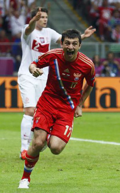 Dzagoev, tras marcar frente a Polonia.