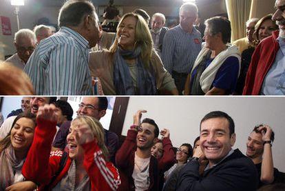 Los candidatos socialistas Tomás Gómez (arriba) y Trinidad Jiménez, durante los actos celebrados anoche en Madrid en agrupaciones del PSOE.