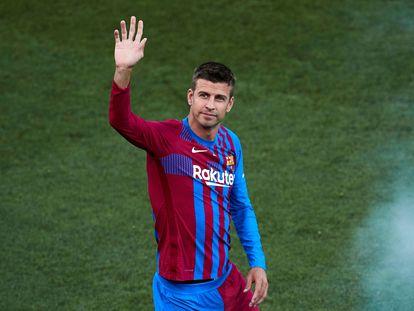 El jugador del FC Barcelona Gerard Piqué, durante la presentación de la plantilla.