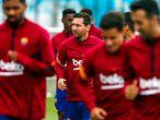 Leo Messi, en el centro de la imagen, en el entrenamiento del 9 de septiembre de 2020 con el FC Barcelona FC BARCELONA 09/09/2020