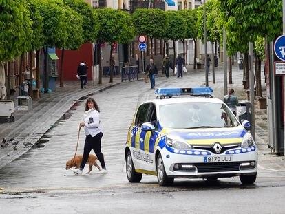 Una señora pasea a su mascota en la calle San Jacinto de Triana, en Sevilla.
