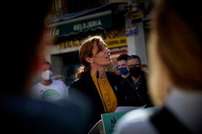 La candidata de Más Madrid en un acto electoral en Getafe el día 29.