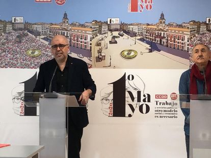 El secretario general de CC OO, Unai Sordo, y el de UGT, Pepe Álvarez.