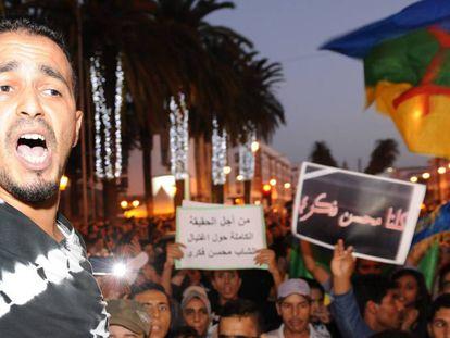Protesta por la muerte del pescador Mouhcine Fikri en Alhucemas (costa marroquí).