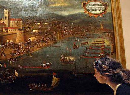 Cuadro de Pere Oromig y Francisco Peralta (1613) de la expulsión de los moriscos en Vinaròs que se muestra en una exposición de la Universidad de Valencia.