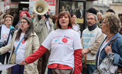 Concentración de la Marea Blanca en Madrid para exigir una sanidad pública de calidad el pasado mes de septiembre.