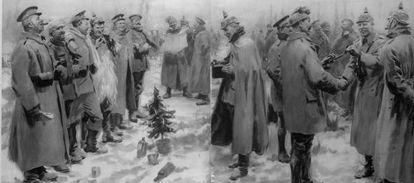 Tropas británicas y alemanas celebrando la Navidad de 1914.