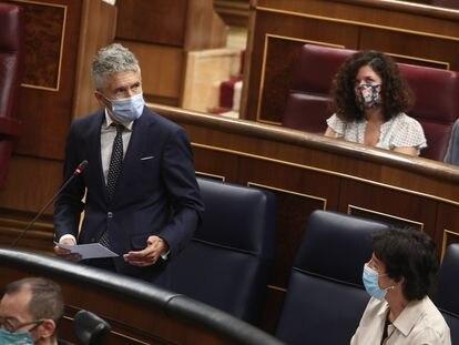 El ministro del Interior, Fernando Grande-Marlaska, interviene en la primera sesión de control al Gobierno en el Congreso, el pasado 9 de septiembre.