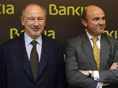 Rodrigo Rato y Luis De Guindos, en el Encuentro Financiero Internacional Bankia 2012.