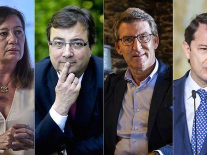 Francina Armengol, Fernández Vara,  Núñez Feijóo y Alfonso Fernández Mañueco.