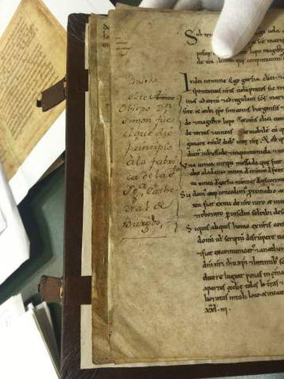 Original del Cartulario de Valpuesta (siglo IX) en el Archivo Histórico Nacional.