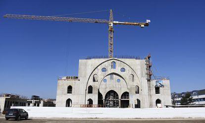 Obras de la mezquita Eyyup Sultan, el 14 de marzo en Estrasburgo.
