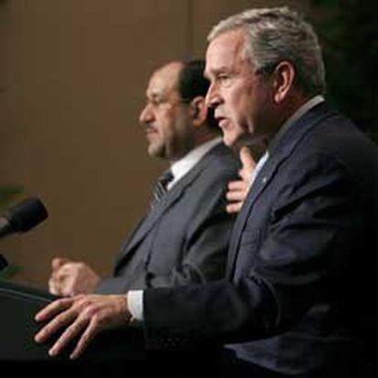 Bush y Maliki, en la rueda de prensa que han dado tras la reunión de hoy.