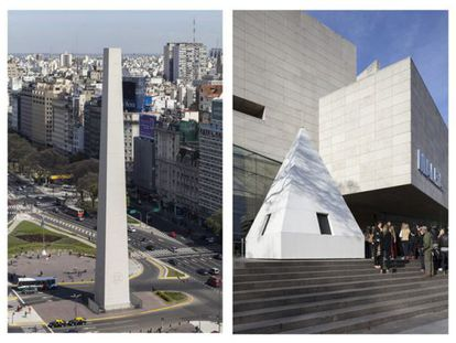 El Obelisco de Buenos Aires amaneció este domingo sin su característica cúpula piramidal.