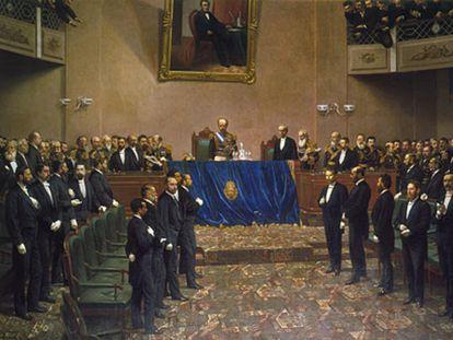 Cuadro que representa al presidente de Argentina, el general Julio Argentino Roca, durante un discurso en el Congreso Nacional del país, entre 1886 y 1887.