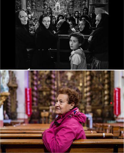 Amalia Torercillas en 'Los jueves, milagro' con 8 años, y abajo, en la actualidad con 75.