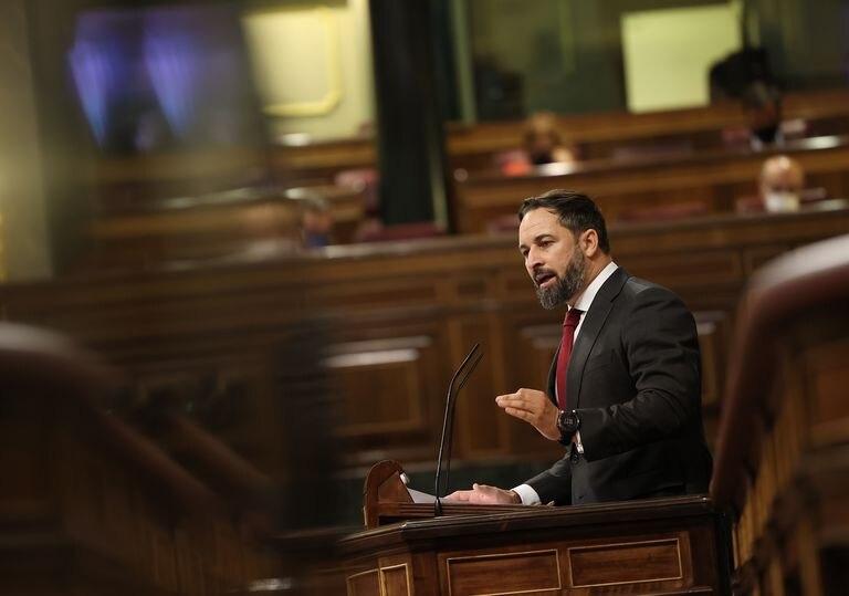 El presidente de VOX, Santiago Abascal, interviene durante el pleno en el que se debate la moción de censura planteada por Vox. EUROPA PRESS/E. Parra