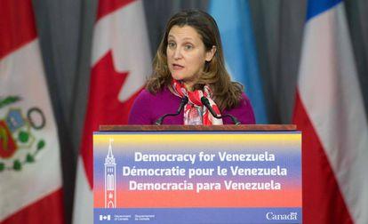 La ministra de Asuntos Exteriores de Canadá, Chrystia Freeland, en febrero pasado.