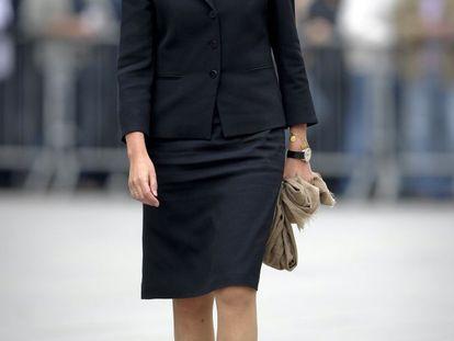 La infanta Cristina llega al funeral del presidente del Comité Olímpico Internacional, Juan Antonio Samaranch, el 22 de abril de 2010 en Barcelona.