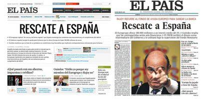 La portada digital y en la edición impresa del papel sobre el rescate