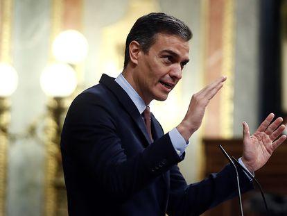 El presidente del Gobierno, Pedro Sánchez, durante su intervención en la moción de censura de Vox, este miércoles en el Congreso de los Diputados.