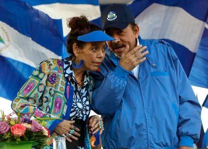 En esta foto de archivo del 5 de septiembre de 2018, el presidente de Nicaragua, Daniel Ortega, y su esposa y vicepresidenta, Rosario Murillo, durante un mitin en Managua, Nicaragua.