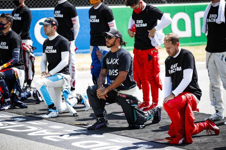 Los pilotos de Fórmula 1, en el Gran Premio de España.