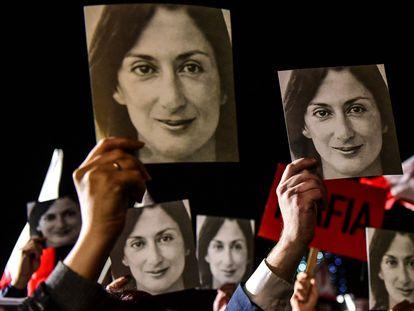 Una manifestación en la que se pedía justicia por la muerte de Daphne Caruana, en noviembre de 2019 en La Valeta.