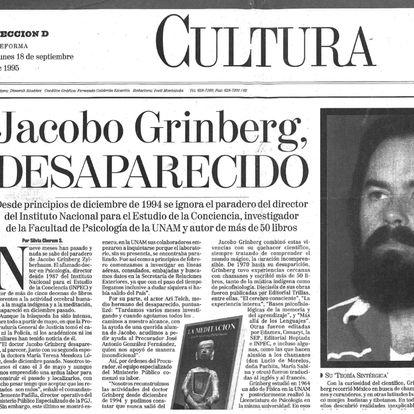 Periódico mexicano con la noticia de la desaparición de Jacobo Grinberg.