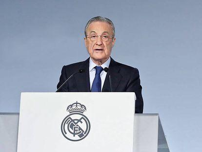Florentino Pérez, durante la Asamblea de Compromisarios del pasado domingo.