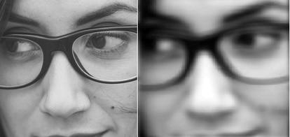 A la izquierda, una imagen como vería un ojo sin defectos visuales. A la derecha, una simulación de como vería esa misma imagen alguien con astigmatismo.