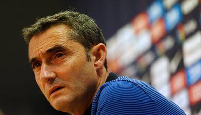 Valverde, en la sala de prensa de la Ciudad Deportiva del Barcelona.