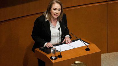La ministra de la Suprema Corte Yasmín Esquivel, en una intervención en el Senado mexicano.