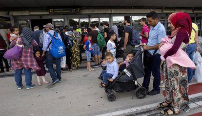 Parte de los 184 refugiados llegados este jueves a España desde Grecia.