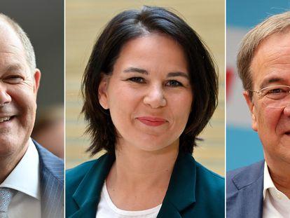 De izquierda a derecha, el candidato socialdemócrata del SPD, Olaf Scholz; la candidata por los Verdes, Annalena Baerbock, y el candidato conservador de la CDU/CSU Armin Laschet, que se enfrentarán esta noche en el primer debate televisado de los candidatos a las elecciones del 26 de septiembre.