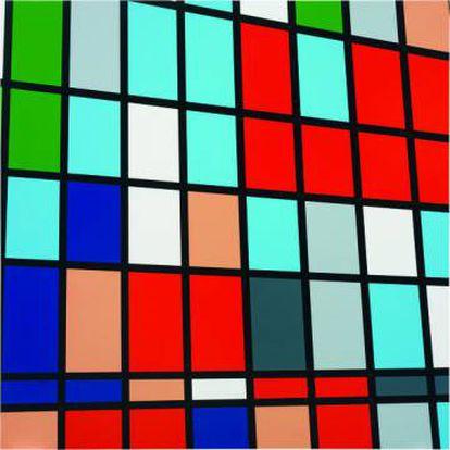 Sarah Morris. 'Midtown - Warner Bros. (1 Times Square)', 1999. Cortesía: El artista y White Cube. Fotografía: Oriol Tarridas. Obra perteneciente a la colección Ella Fontanals-Cisneros.
