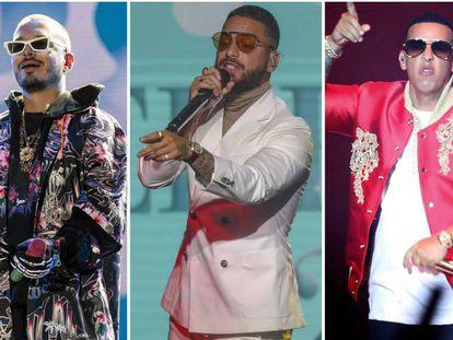 De izquierda a derecha: J Balvin, Maluma y Daddy Yankee.