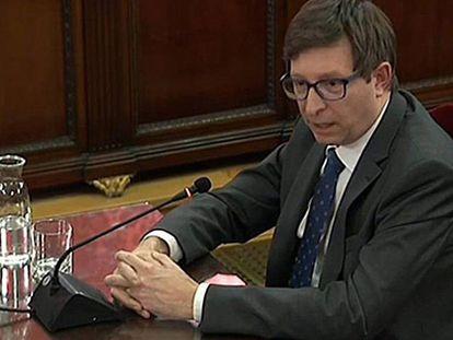 Carles Mundó durante su declaración en el juicio al 'procés'.