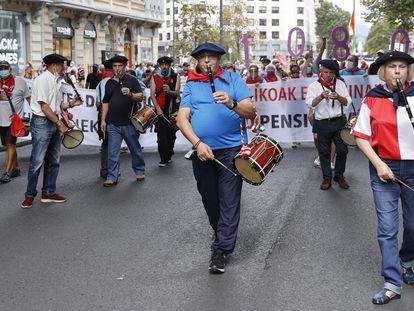 Movilización de pensionistas en Bilbao, este lunes.