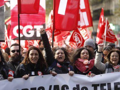 Manifestación de teleoperadores en Madrid.