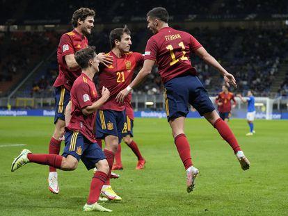 Ferran Torres celebra su gol durante la semifinal de la Liga de las Naciones contra Italia, el pasado 6 de octubre de 2021.