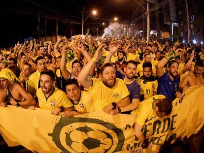 Aficionados de Brasil en la Copa América.