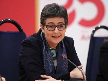 La ministra de Exteriores, Arancha González Laya, en la sede de la AECID.
