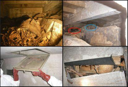 En distintas catas, expertos del CSIC han comprobado el mal estado del interior de algunas criptas del Valle de los Caídos, con cajas rotas y huesos apilados.