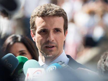 Pablo Casado en el funeral del expresidente de la Xunta, Gerardo Fernandez Albor,