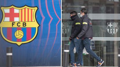 Dos personas entran en las oficinas del Camp Nou, este lunes en Barcelona.