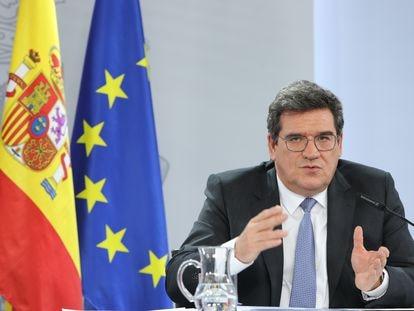 José Luis Escrivá, ministro de Inclusión, Seguridad Social y Migraciones, el martes en la rueda de prensa tras el Consejo de Ministros.
