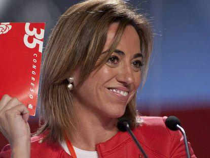 Carmen Chacon en el 38 congreso federal del PSOE, en febrero de 2012, celebrado en Sevilla.