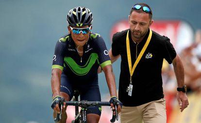 Nairo Quintan tras cruzar la meta.